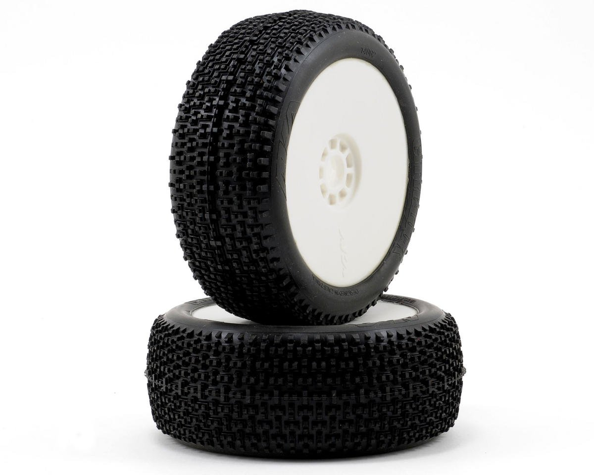 AKA Cityblock 1/8 Buggy Pre-Mounted Tires (2) (White) (Soft)