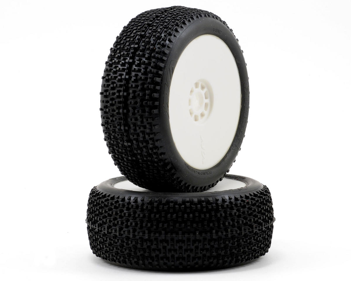 Cityblock 1/8 Buggy Pre-Mounted Tires (2) (White) (Super Soft) by AKA