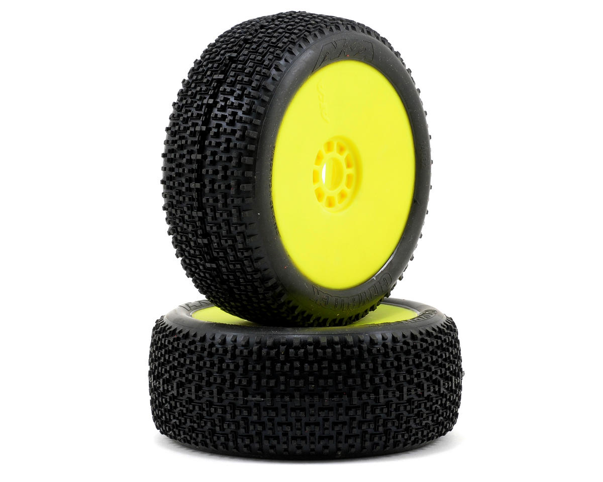Cityblock 1/8 Buggy Pre-Mounted Tires (2) (Yellow) (Soft - Long Wear) by AKA