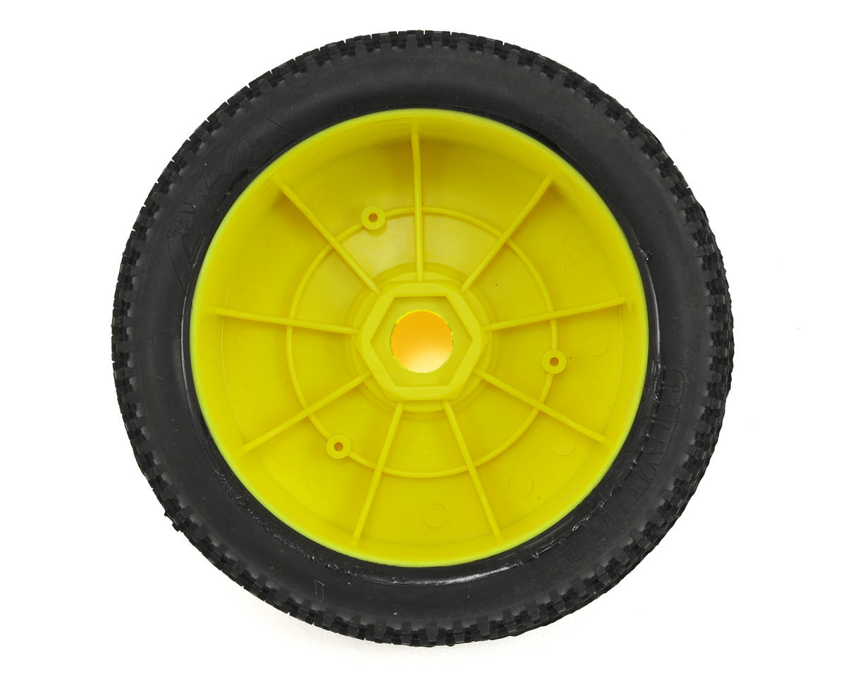 AKA Cityblock 1/8 Buggy Pre-Mounted Tires (2) (Yellow) (Soft - Long Wear)