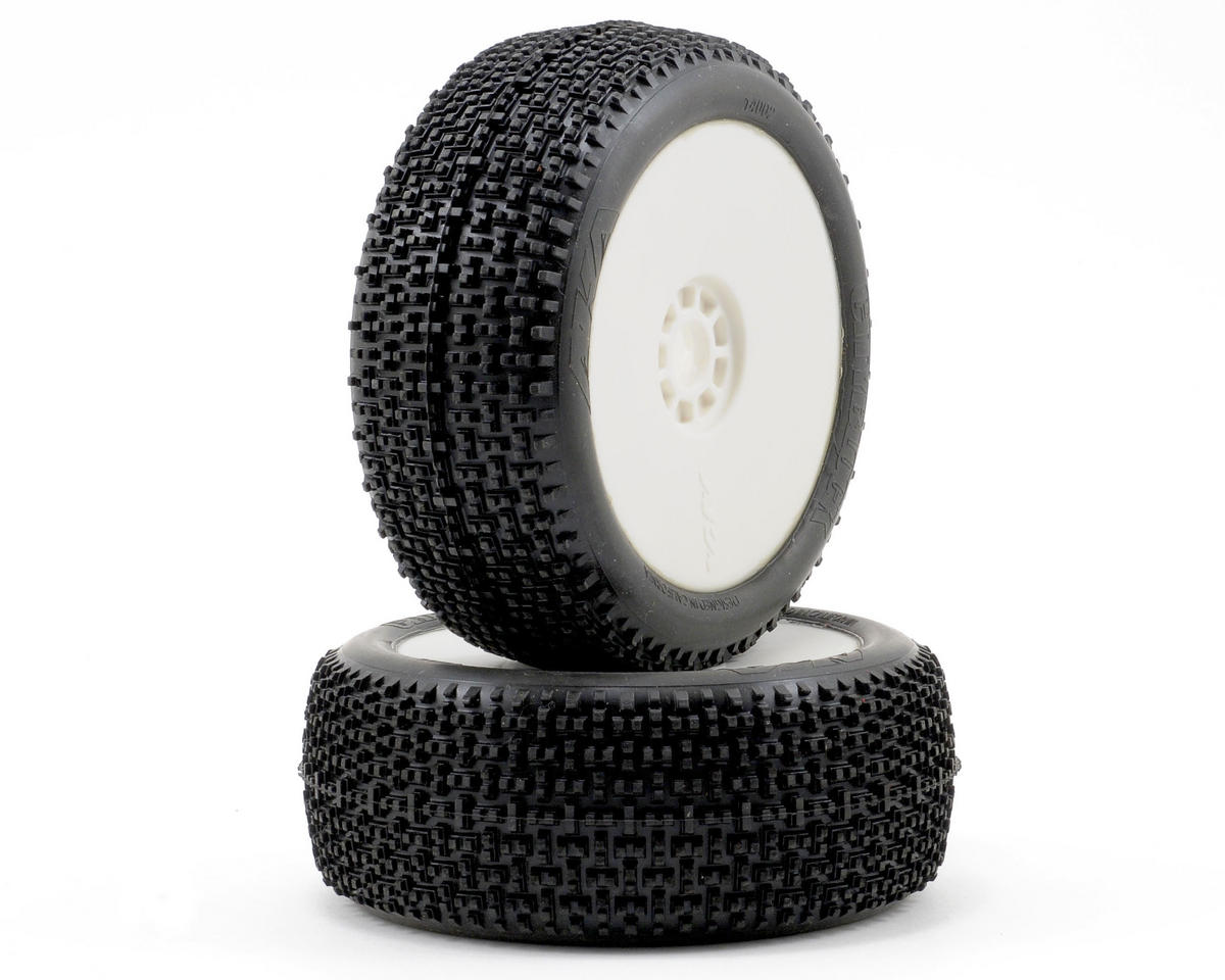 AKA Cityblock 1/8 Buggy Pre-Mounted Tires (2) (White) (Medium - Long Wear)