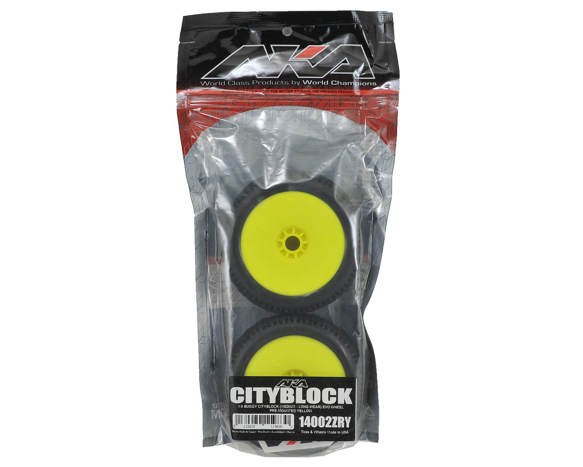 AKA Cityblock 1/8 Buggy Pre-Mounted Tires (2) (Yellow) (Medium - Long Wear)
