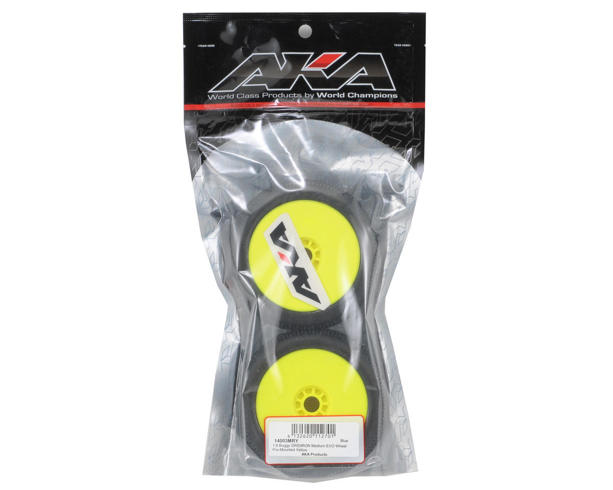 AKA Gridiron 1/8 Buggy Pre-Mounted Tires (2) (Yellow)
