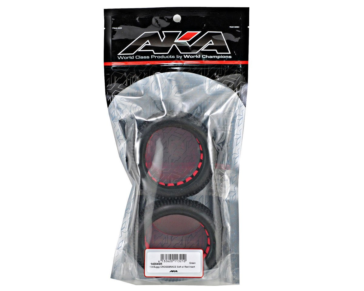 Cross Brace 1/8 Buggy Tires (2) (Soft) by AKA