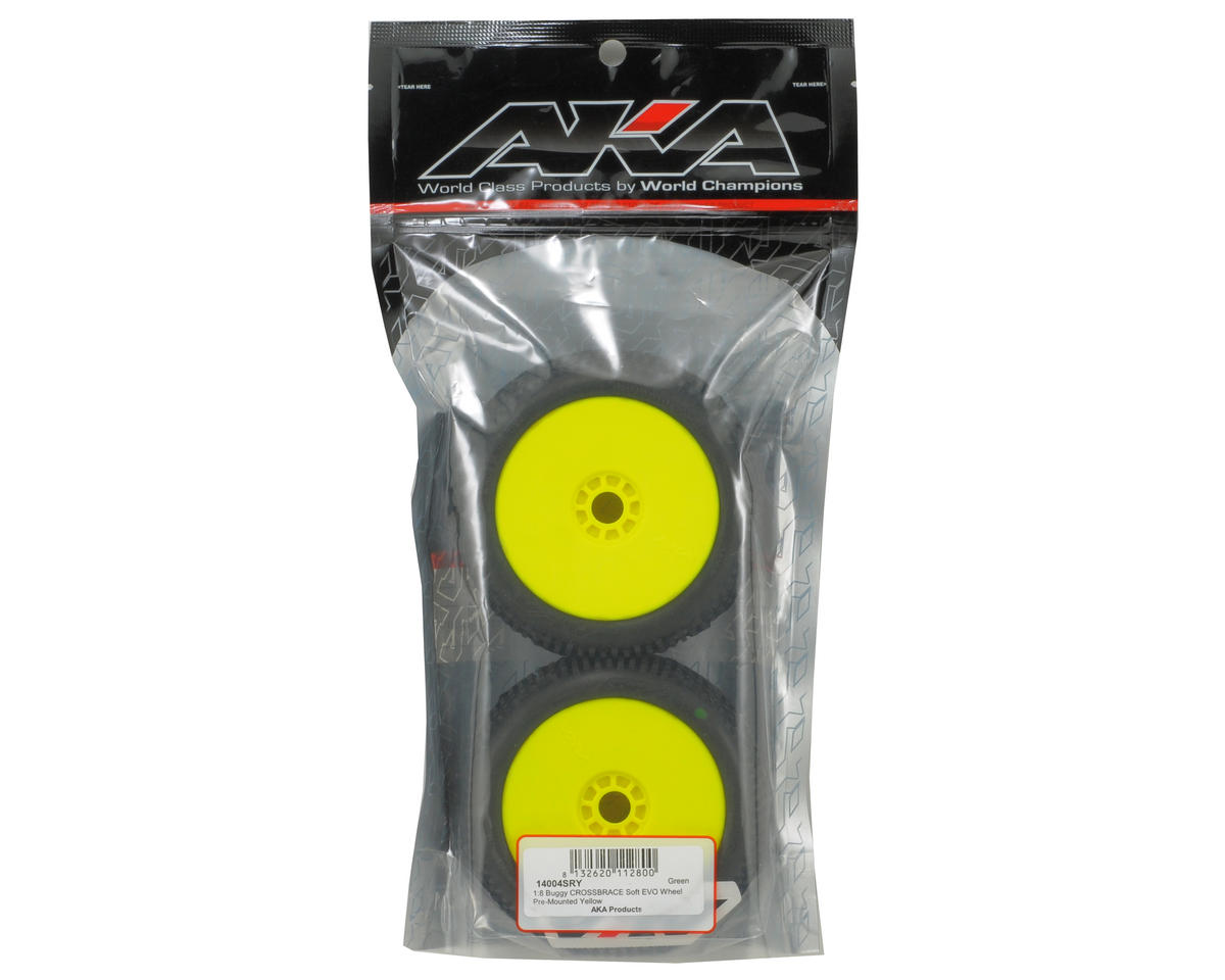 Cross Brace 1/8 Buggy Pre-Mounted Tires (2) (Yellow) (Soft) by AKA