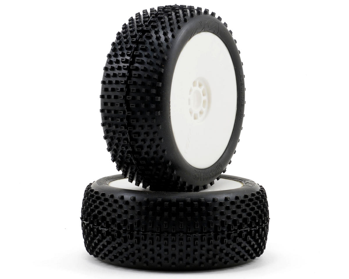 AKA Cross Brace 1/8 Buggy Pre-Mounted Tires (2) (White) (Soft - Long Wear)