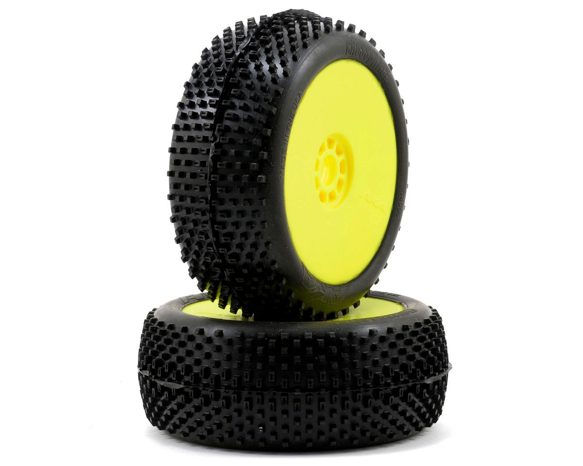 Cross Brace 1/8 Buggy Pre-Mounted Tires (2) (Yellow) (Soft - Long Wear) by AKA