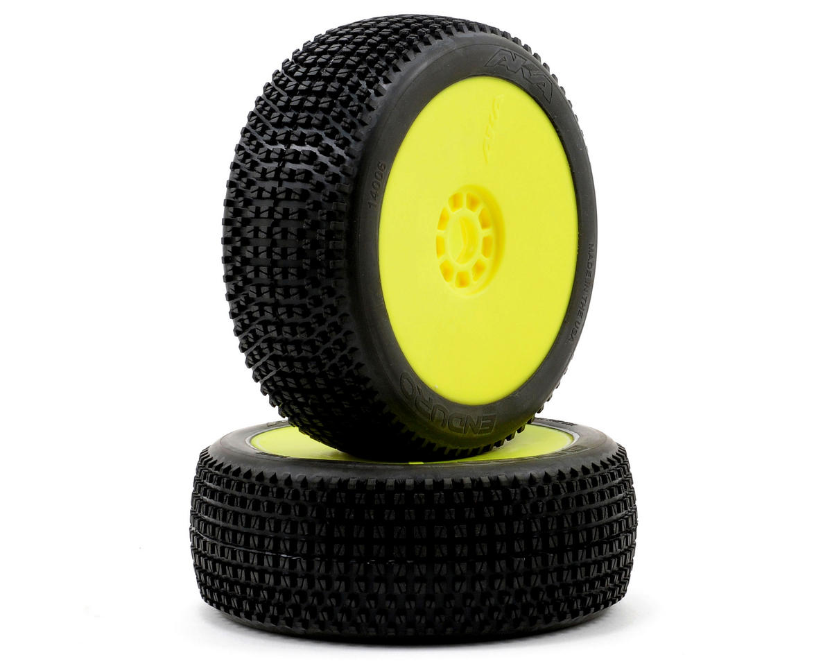 Enduro 1/8 Buggy Pre-Mounted Tires (2) (Yellow) (Super Soft) by AKA