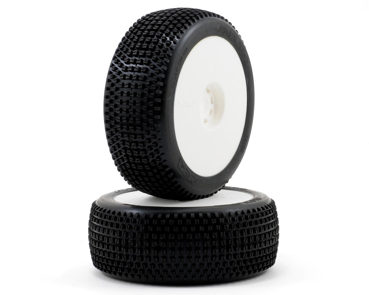 AKA Enduro 1/8 Buggy Pre-Mounted Tires (2) (White) (Medium - Long Wear)