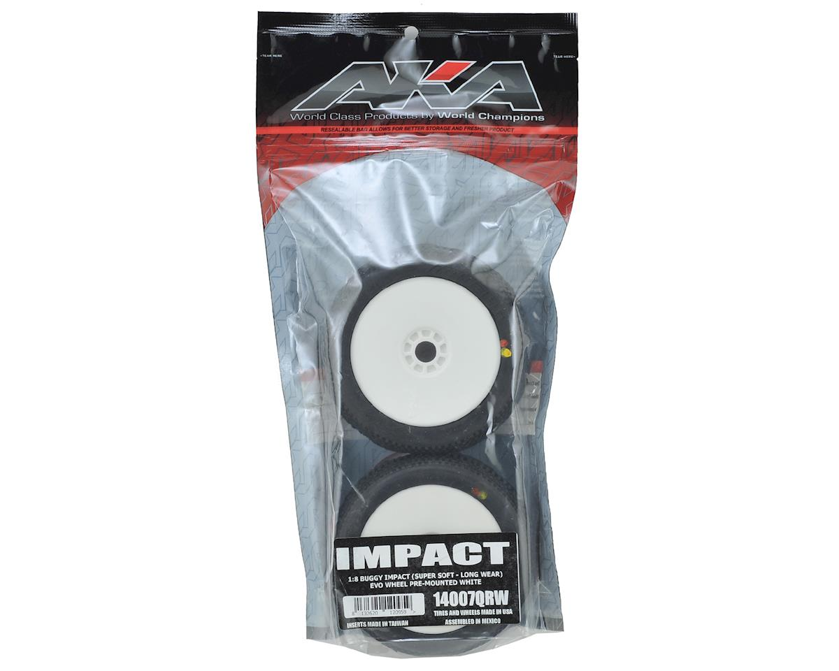 AKA Impact 1/8 Buggy Pre-Mounted Tires (2) (White) (Super Soft - Long Wear)