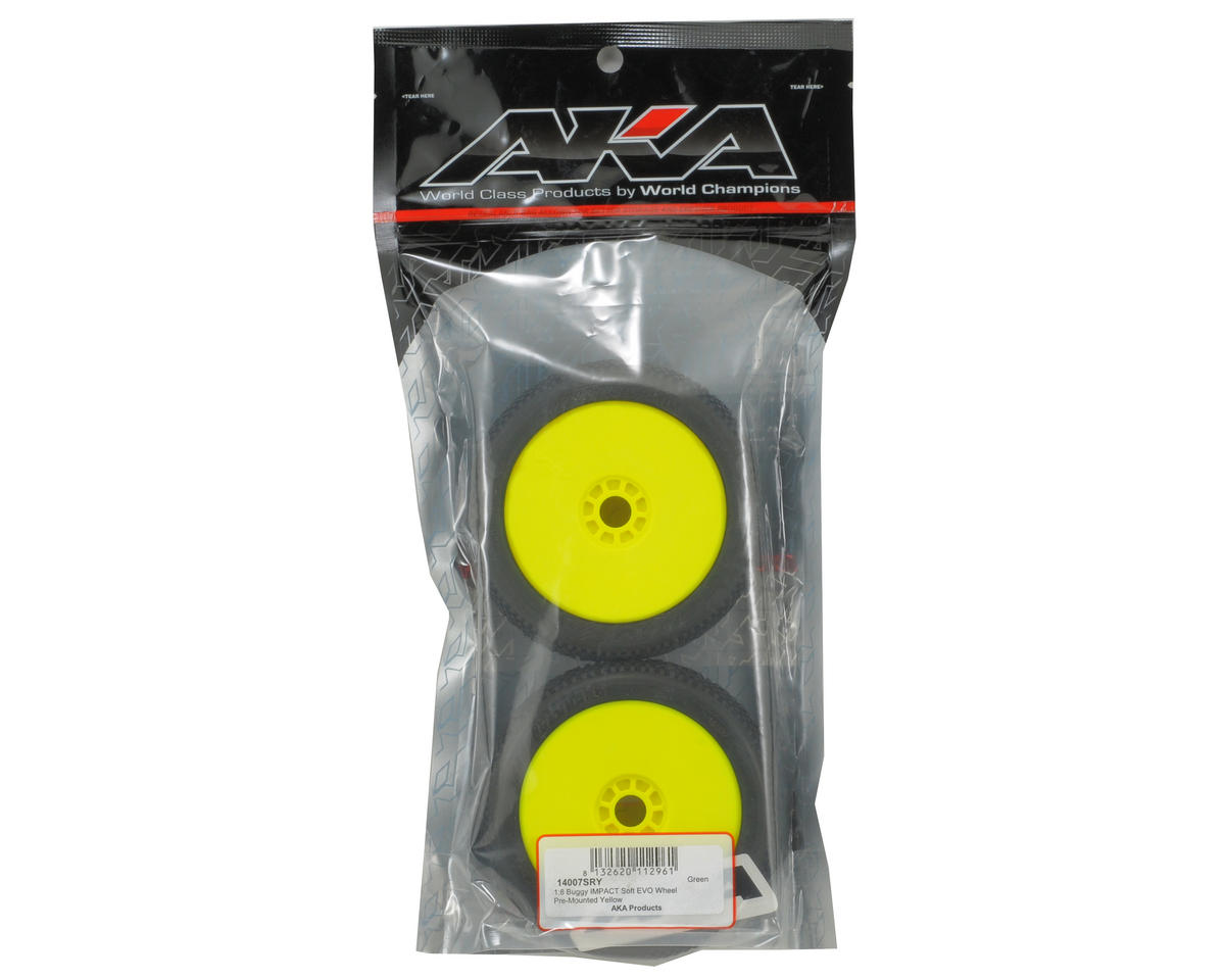 AKA Impact 1/8 Buggy Pre-Mounted Tires (2) (Yellow) (Soft)