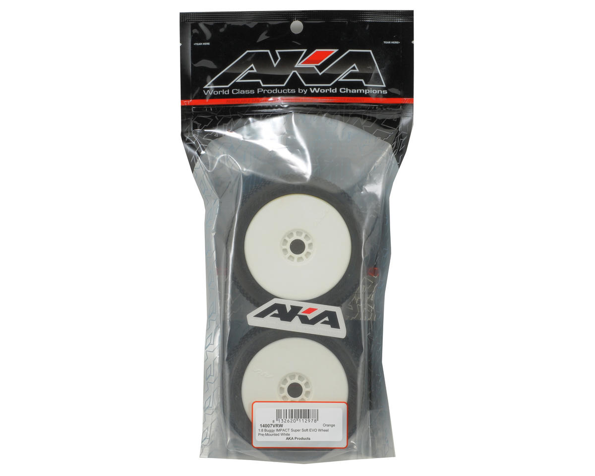 AKA Impact 1/8 Buggy Pre-Mounted Tires (2) (White) (Super Soft)