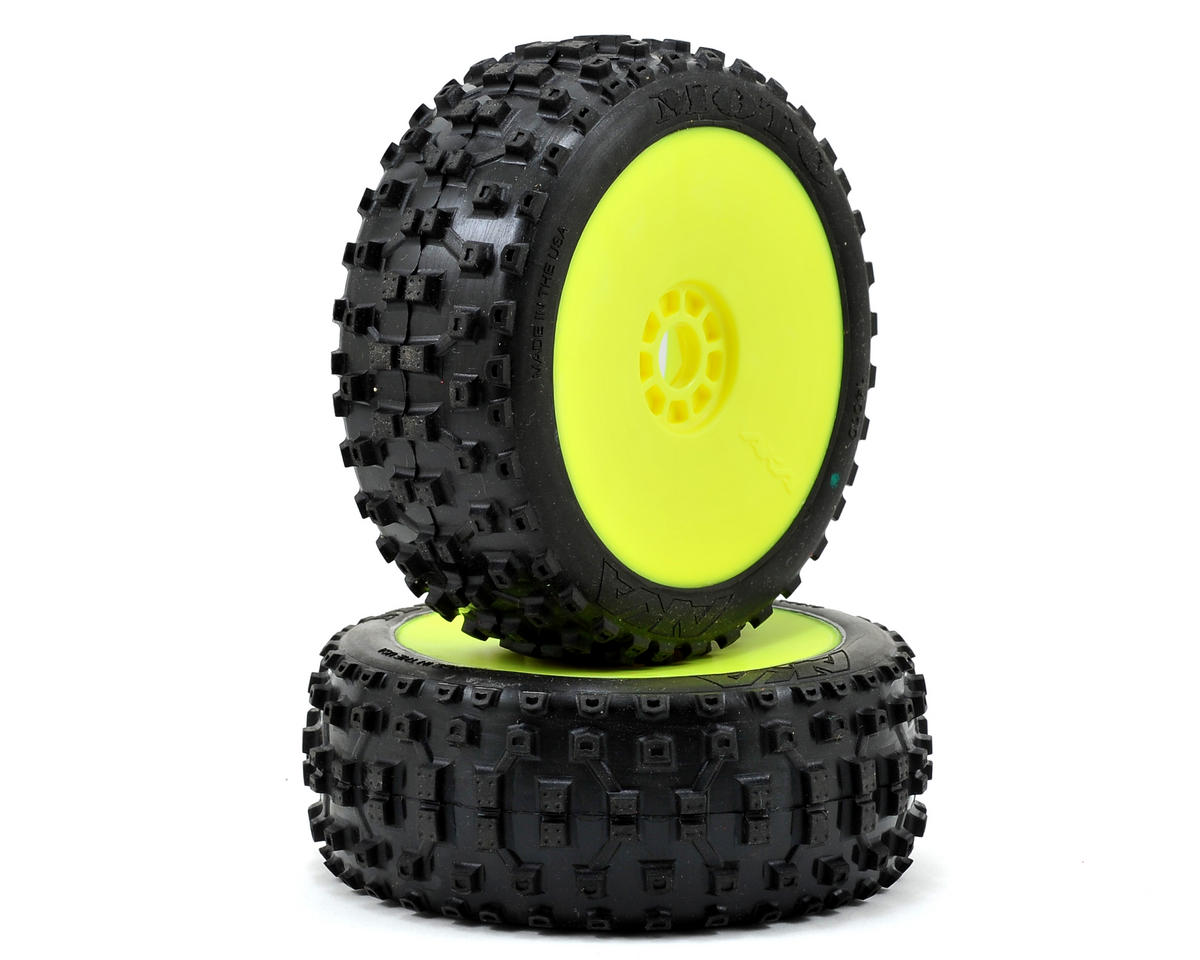 AKA Moto 1/8 Buggy Pre-Mounted Tires (2) (Yellow)