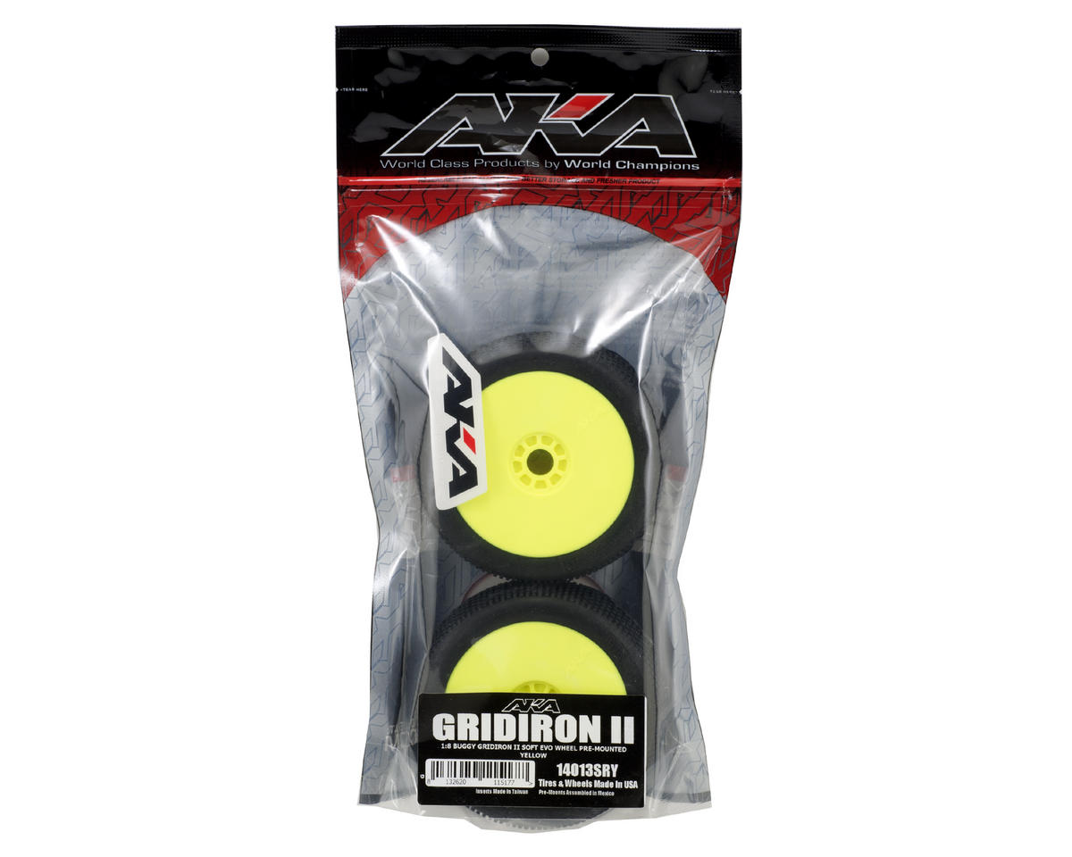 Gridiron II 1/8 Buggy Premounted Tires (2) (Yellow) (Soft) by AKA