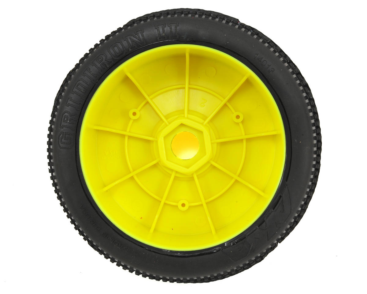 AKA Gridiron II 1/8 Buggy Pre-Mounted Tires (2) (Yellow) (Medium - Long Wear)