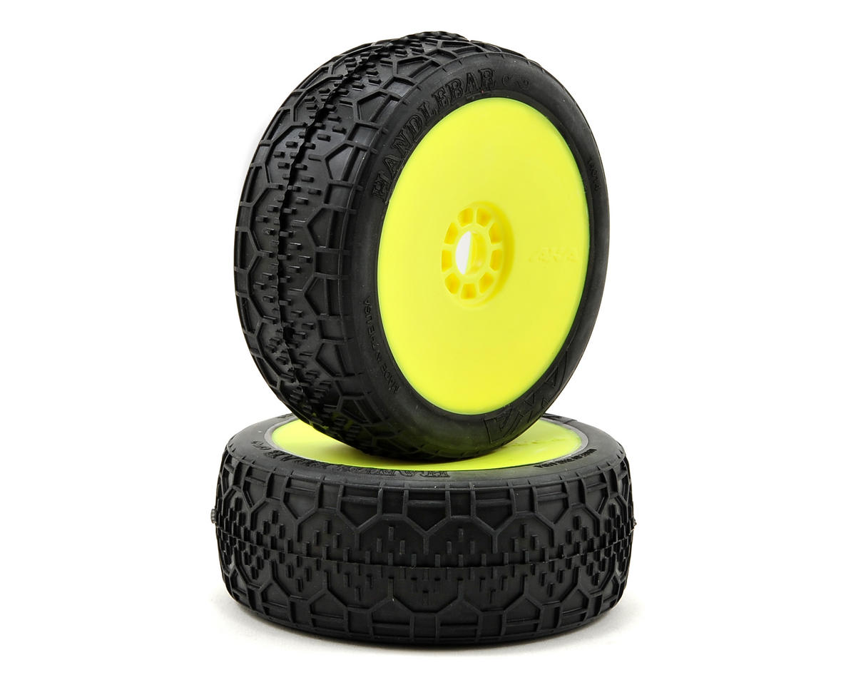AKA Handlebar 1/8 Buggy Pre-Mounted Tires (2) (Yellow) (Clay)