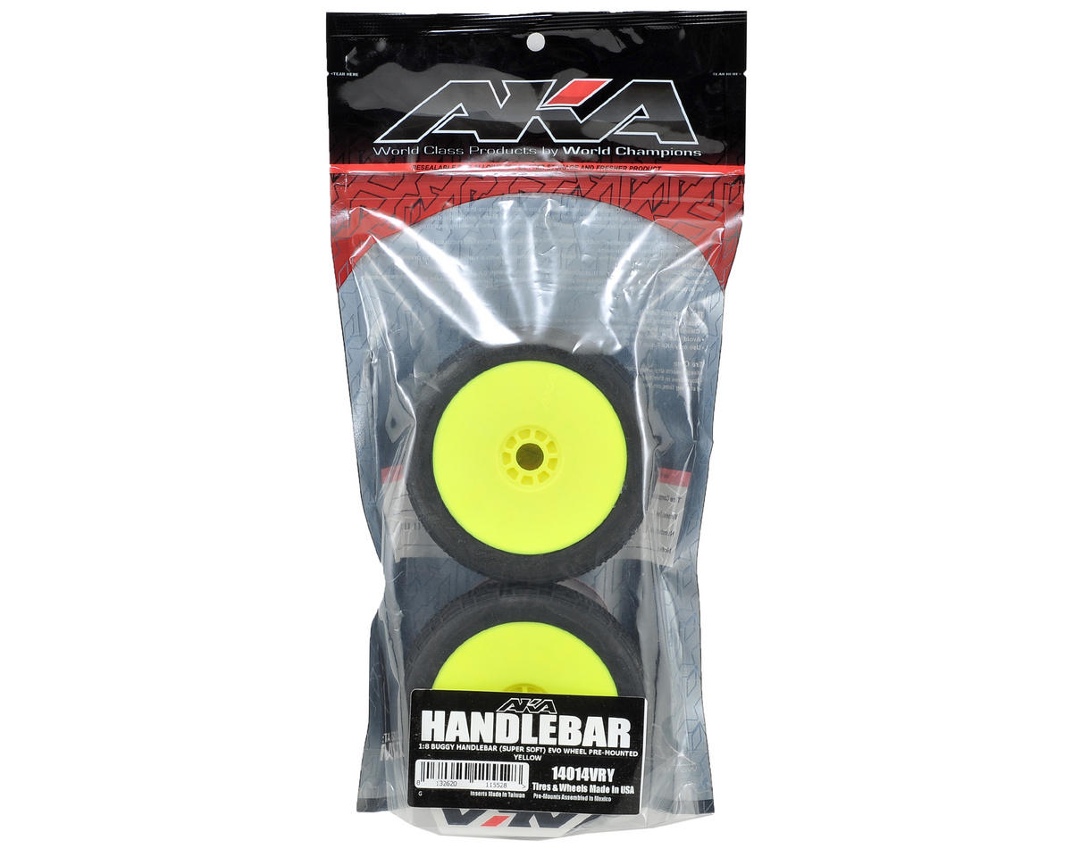 AKA Handlebar 1/8 Buggy Pre-Mounted Tires (2) (Yellow) (Super Soft)