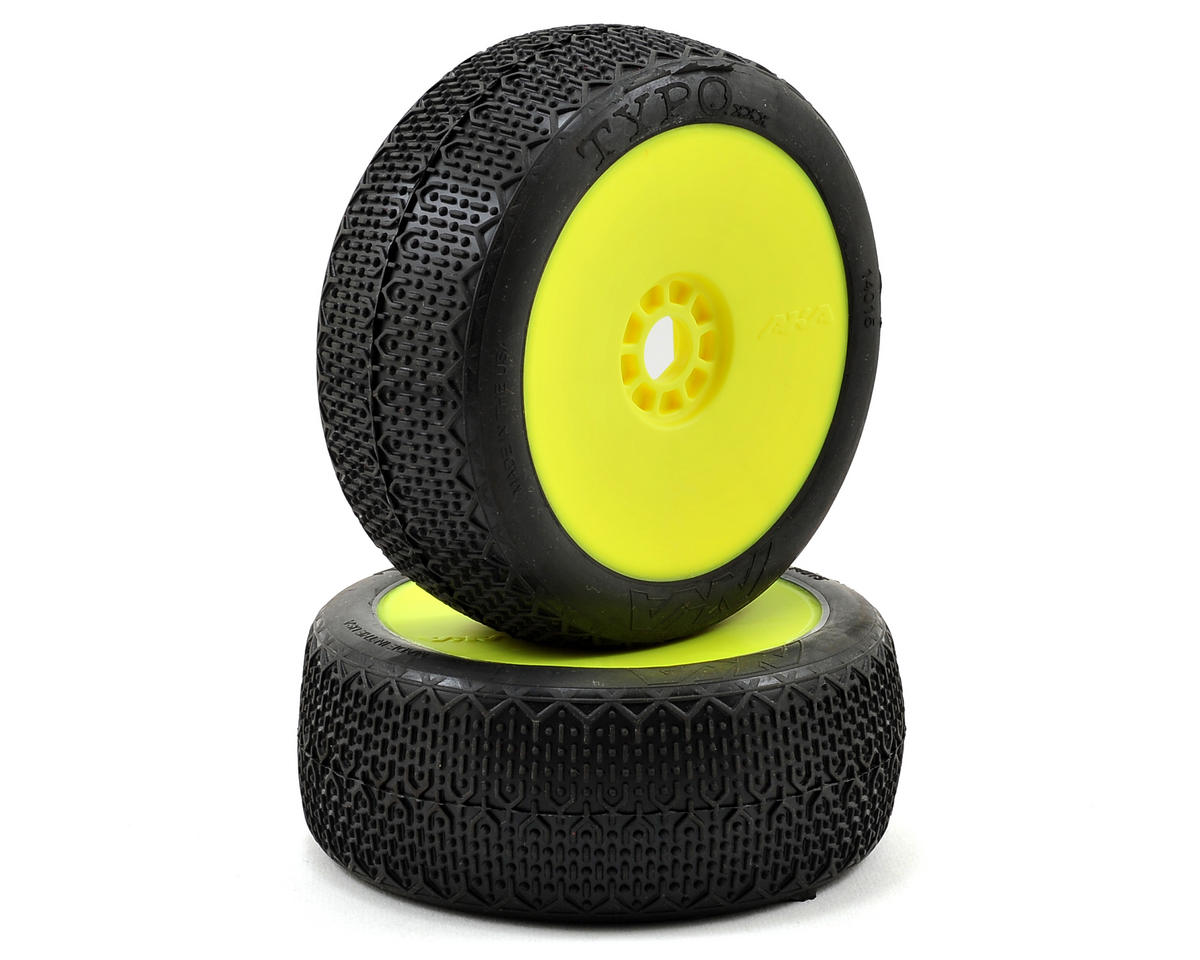 AKA Typo 1/8 Buggy Pre-Mounted Tires (2) (Yellow) (Super Soft)