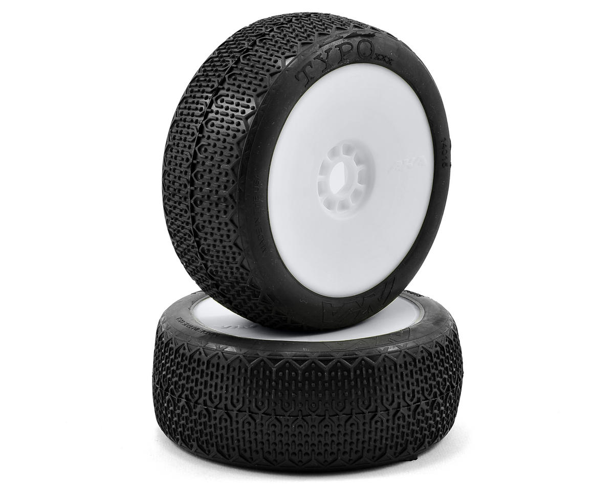 AKA Typo 1/8 Buggy Pre-Mounted Tires (2) (White) (Medium - Long Wear)
