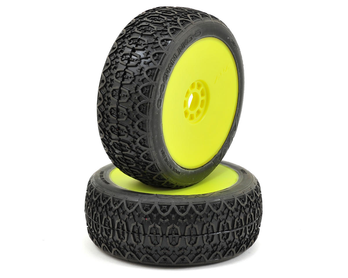 Chain Link 1/8 Buggy Pre-Mounted Tires (2) (Yellow) (Super Soft) by AKA