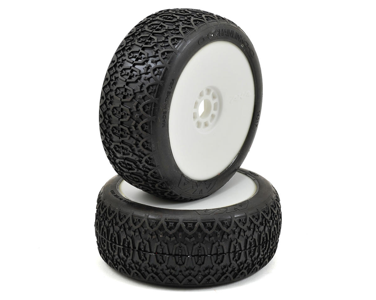 AKA Chain Link 1/8 Buggy Pre-Mounted Tires (2) (White) (Soft - Long Wear)