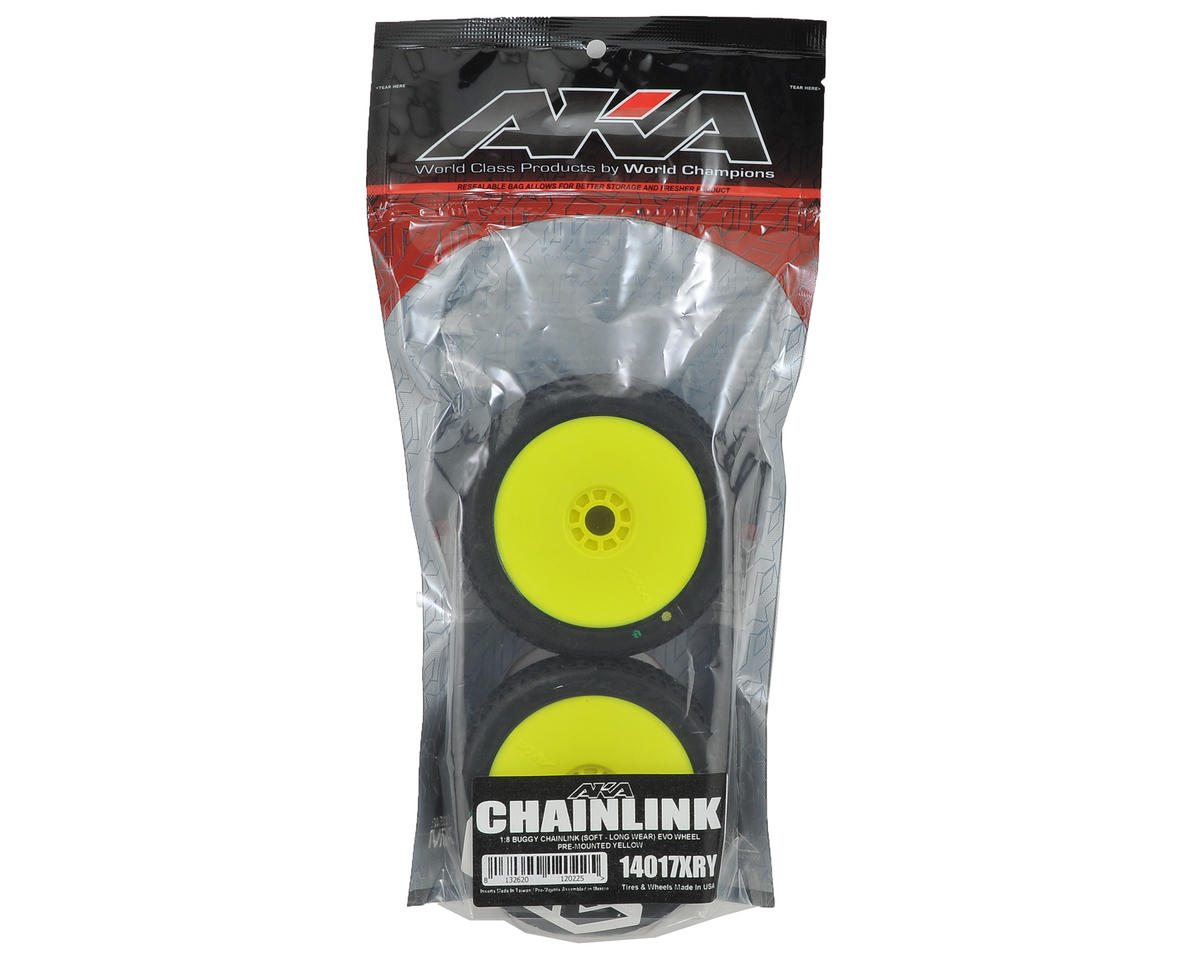 AKA Chain Link 1/8 Buggy Pre-Mounted Tires (2) (Yellow) (Soft - Long Wear)