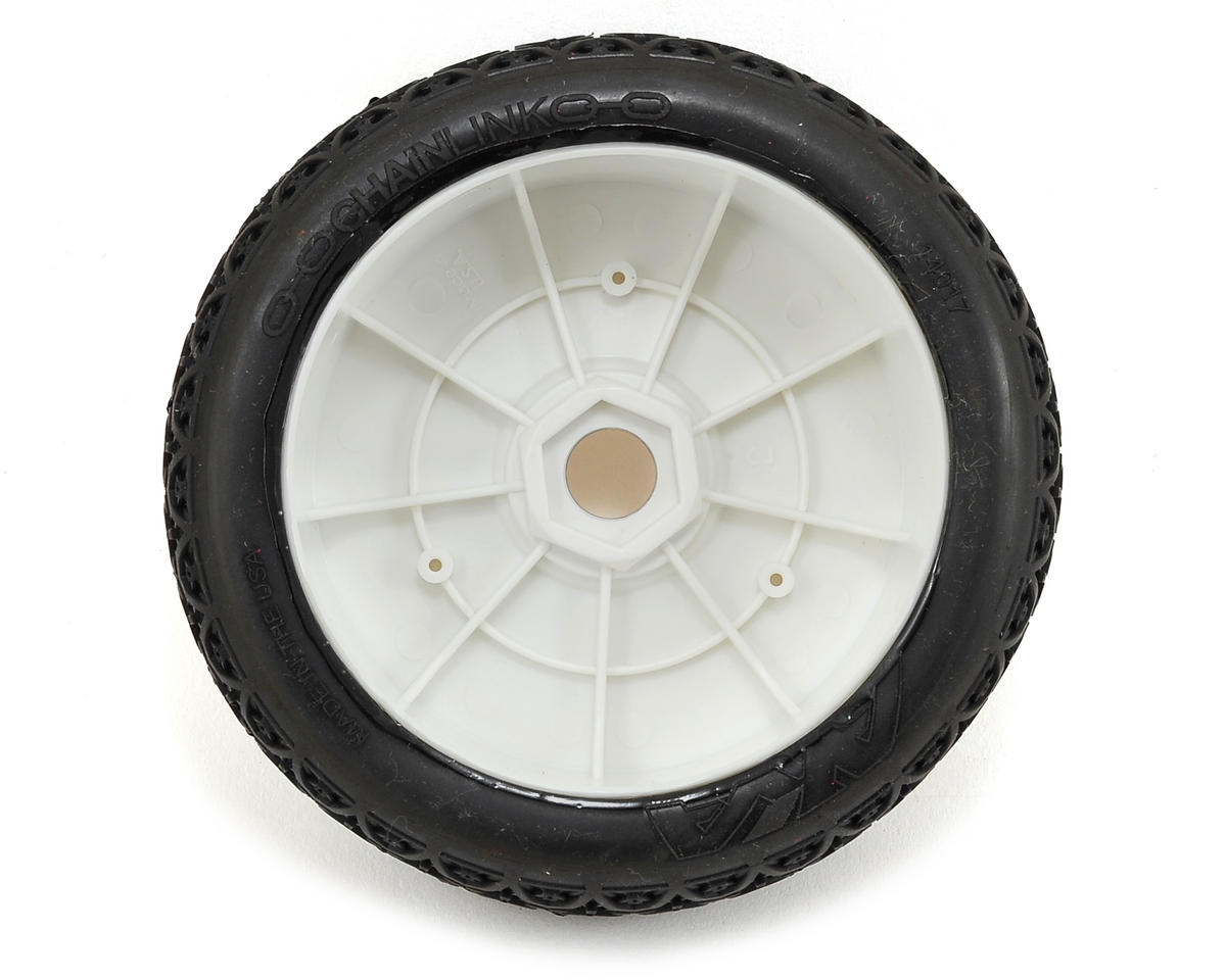 AKA Chain Link 1/8 Buggy Pre-Mounted Tires (2) (White) (Medium - Long Wear)