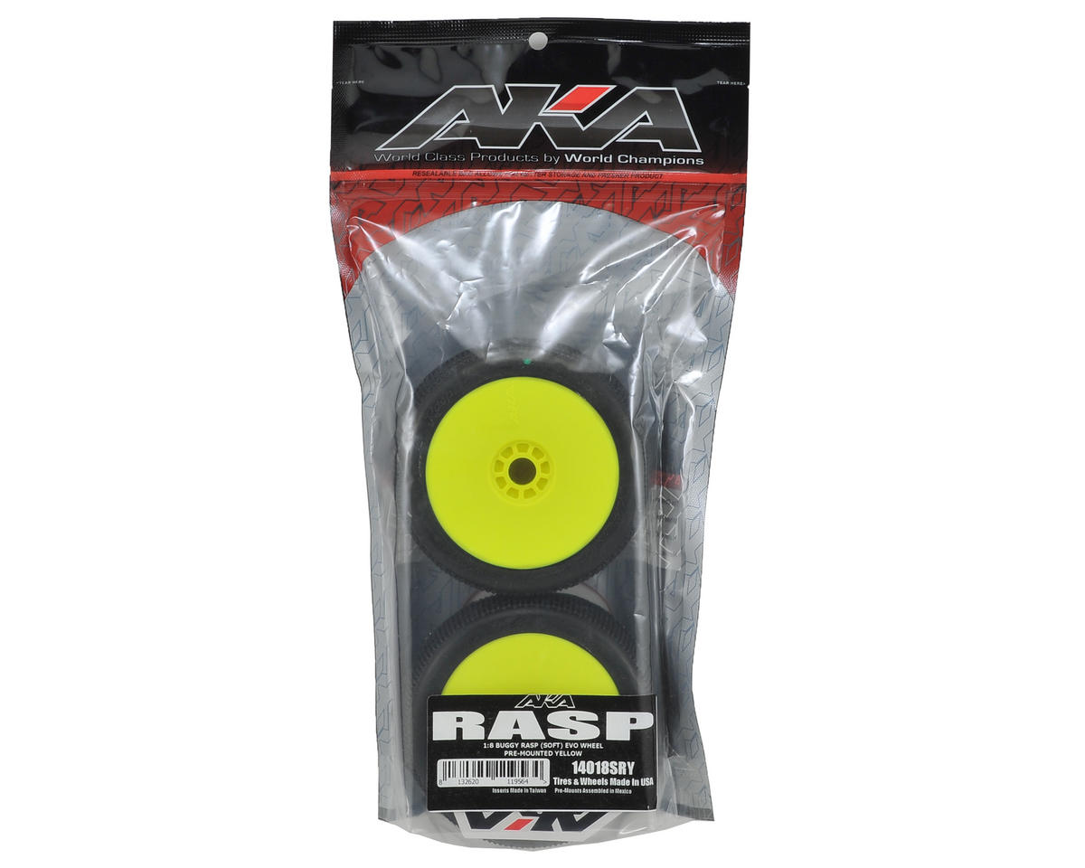 AKA Rasp 1/8 Buggy Pre-Mounted Tires (2) (Yellow) (Soft)