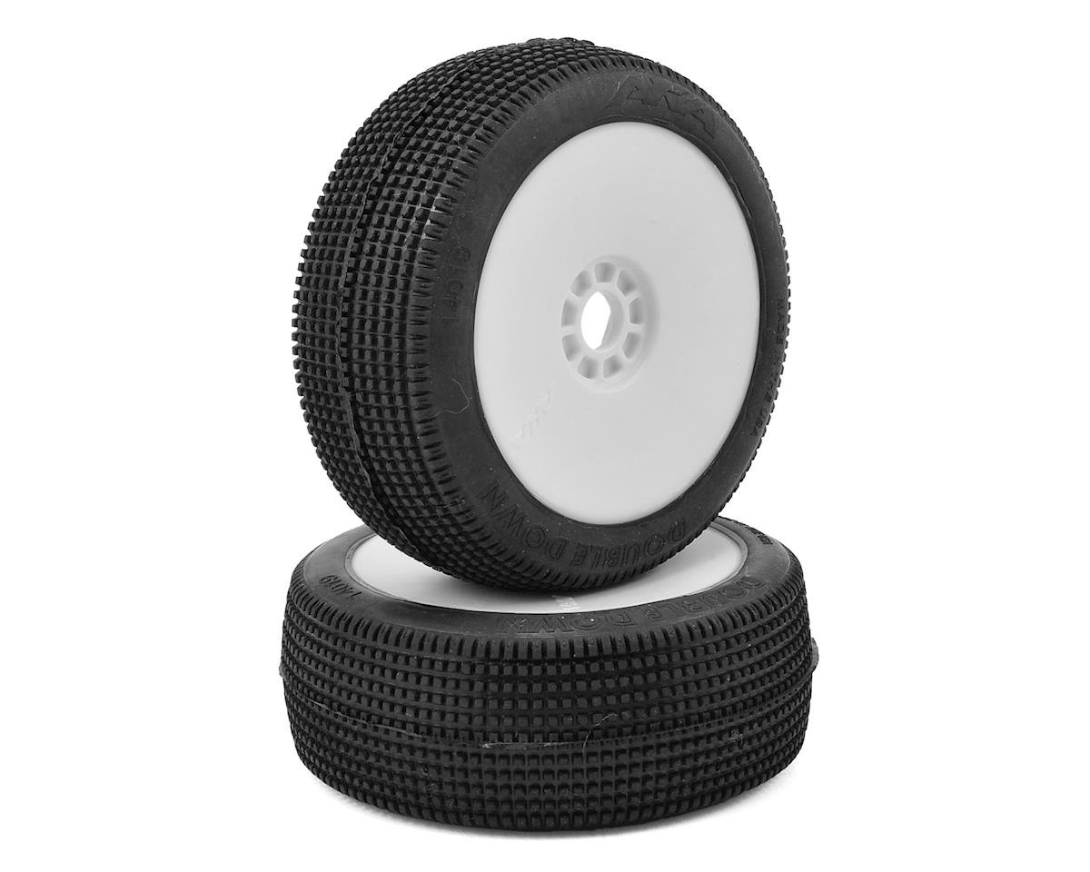 Double Down 1/8 Buggy Pre-Mounted Tires (2) (White) (Super Soft - Long Wear) by AKA
