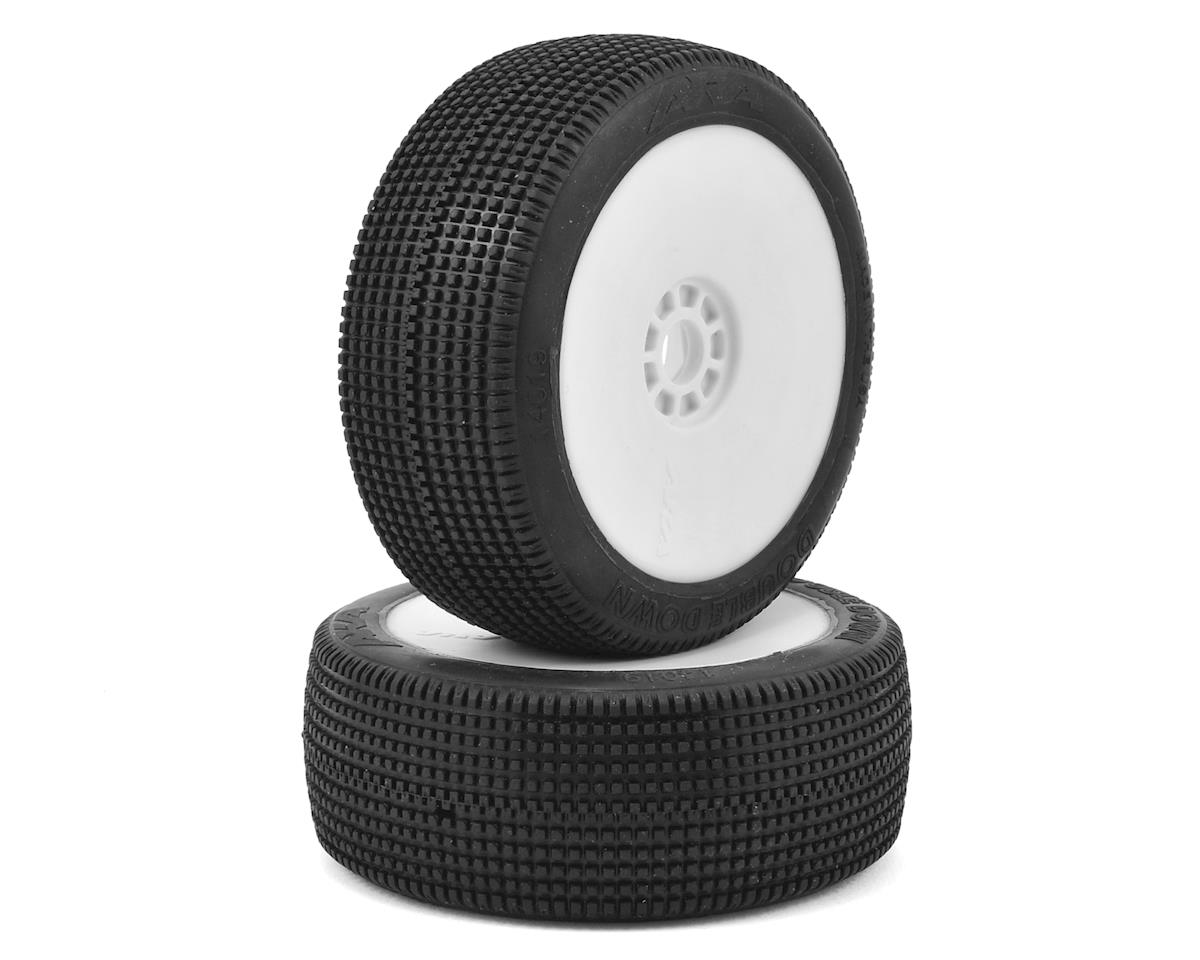 Double Down 1/8 Buggy Pre-Mounted Tires (2) (White) by AKA