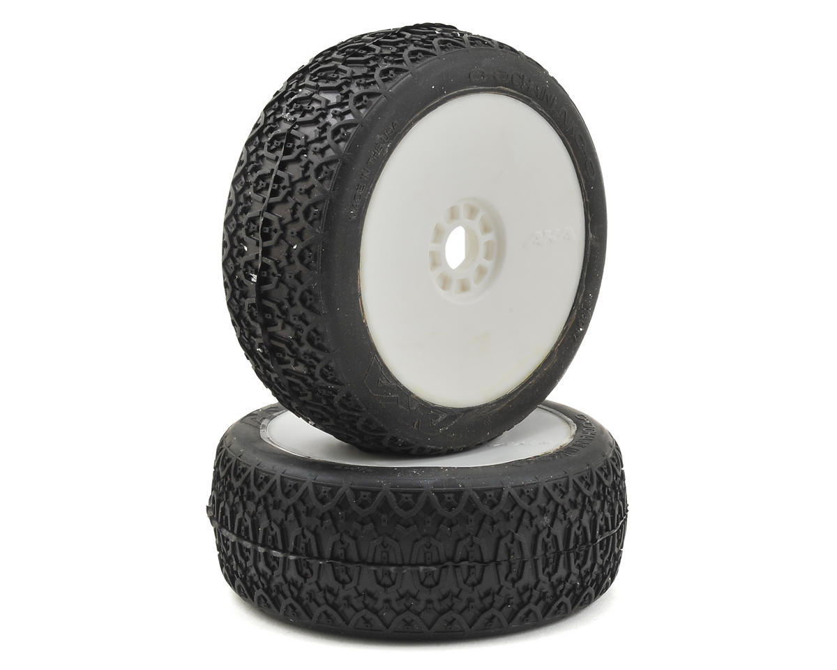 AKA EVO Zipps 1/8 Buggy Pre-Mounted Tires (2) (White) (Soft)