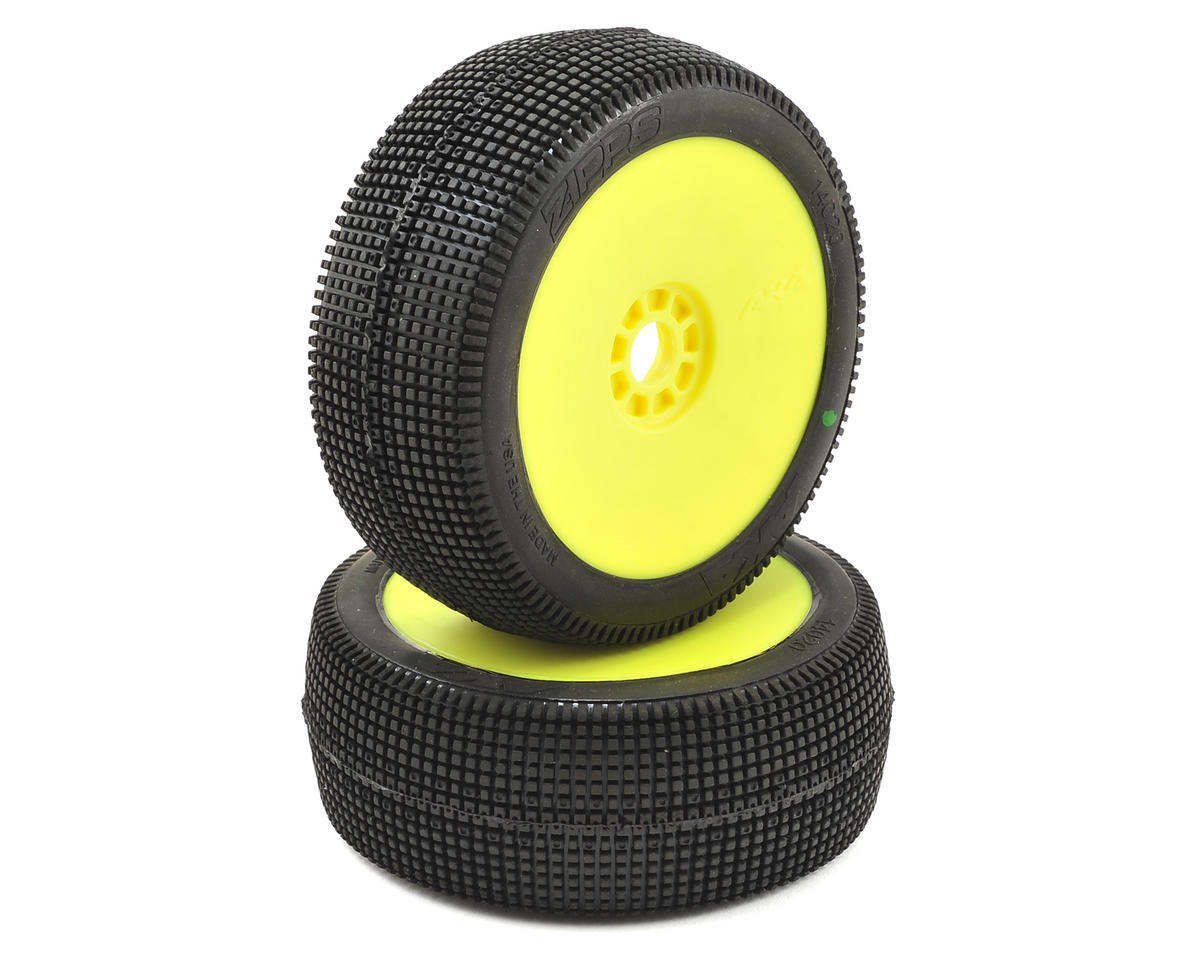 EVO Zipps 1/8 Buggy Pre-Mounted Tires (2) (Yellow) (Soft) by AKA