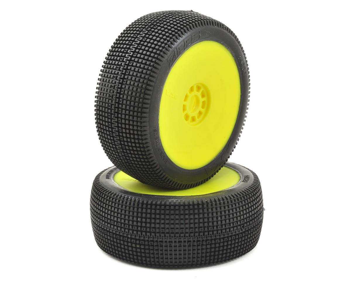 EVO Zipps 1/8 Buggy Pre-Mounted Tires (2) (Yellow) (Super Soft) by AKA