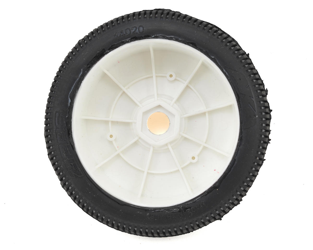 AKA EVO Zipps 1/8 Buggy Pre-Mounted Tires (2) (White) (Medium - Long Wear)