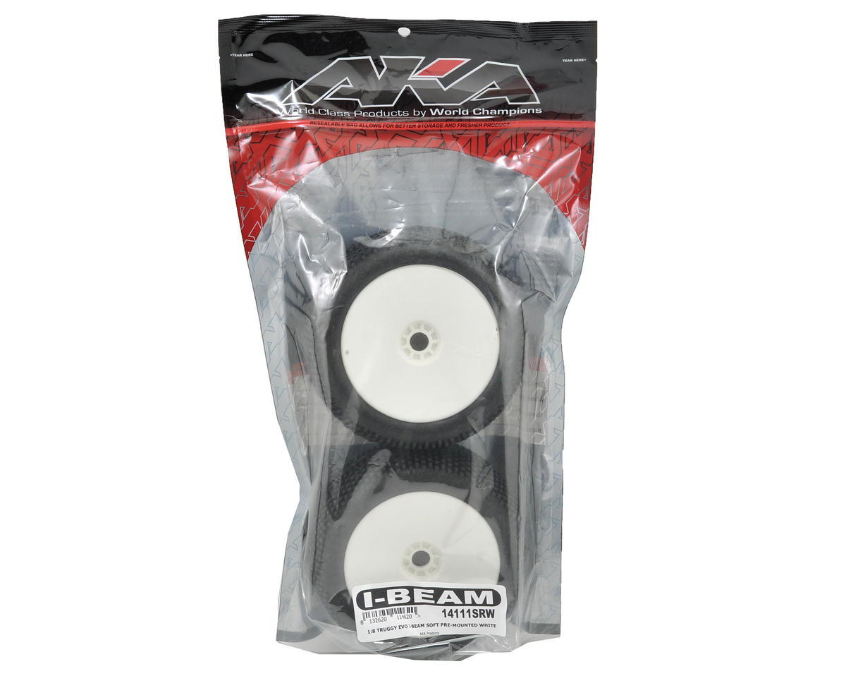 AKA EVO I-Beam 1/8 Truggy Pre-Mounted Tires (2) (White) (Soft)