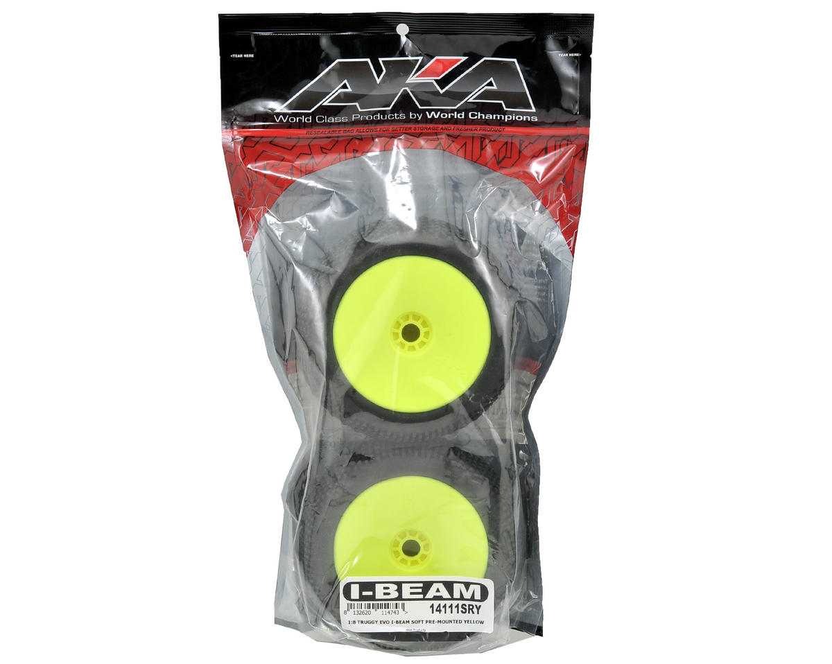 AKA EVO I-Beam 1/8 Truggy Pre-Mounted Tires (2) (Yellow) (Soft)