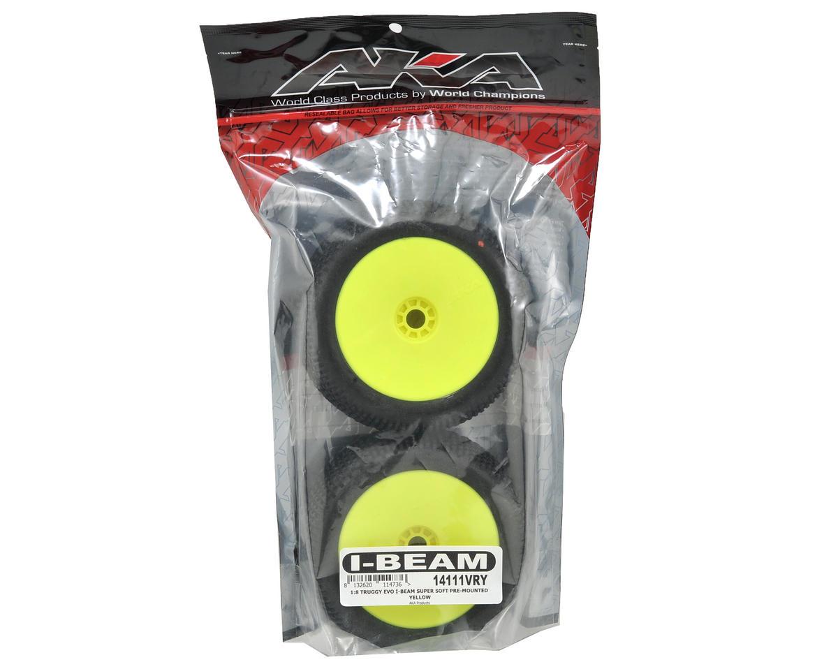 AKA EVO I-Beam 1/8 Truggy Pre-Mounted Tires (2) (Yellow) (Super Soft)