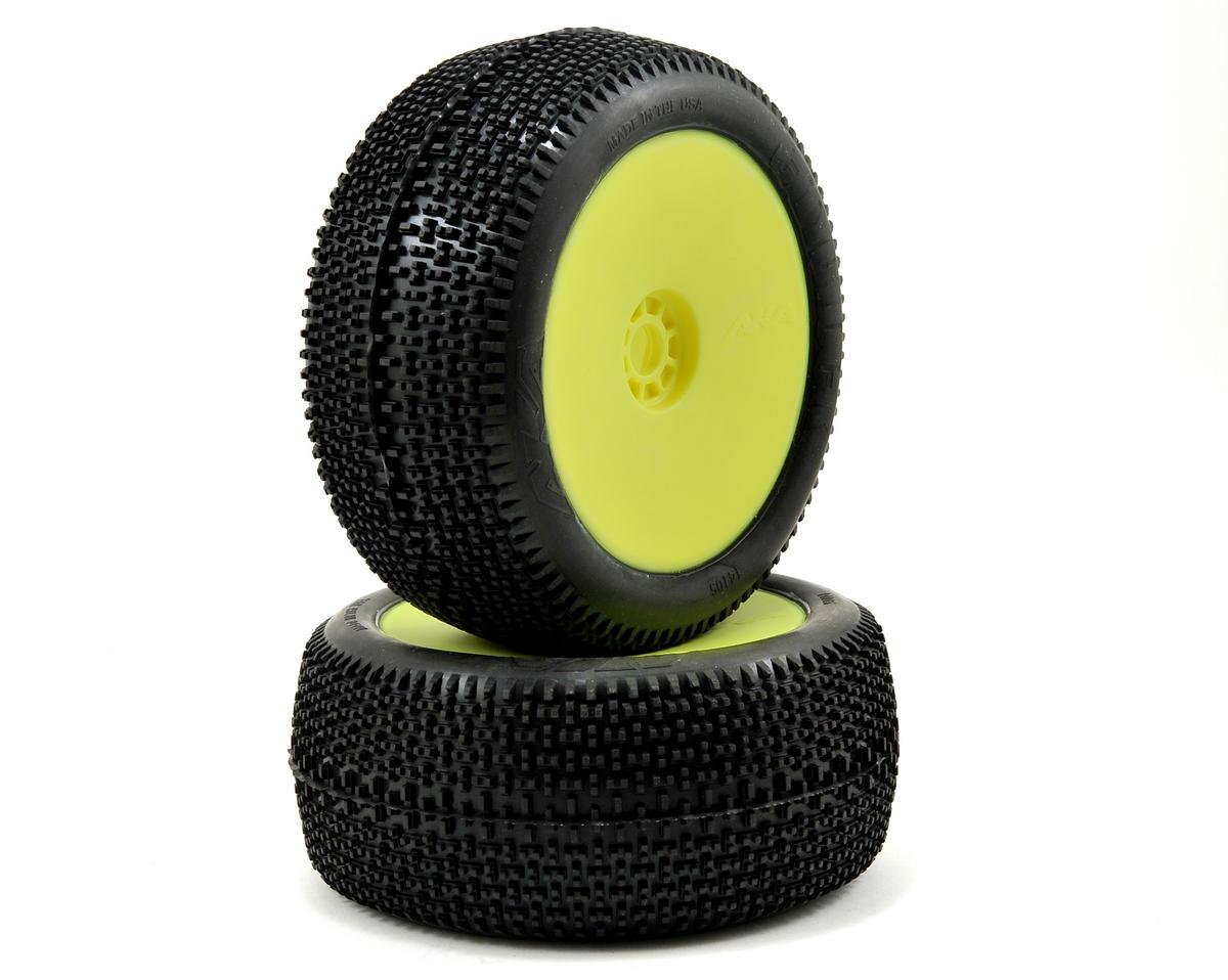 AKA EVO Cityblock 1/8 Truggy Pre-Mounted Tires (2) (Yellow) (Medium)