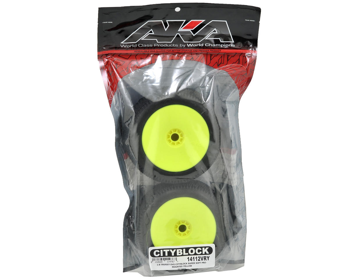 AKA EVO Cityblock 1/8 Truggy Pre-Mounted Tires (2) (Yellow) (Super Soft)