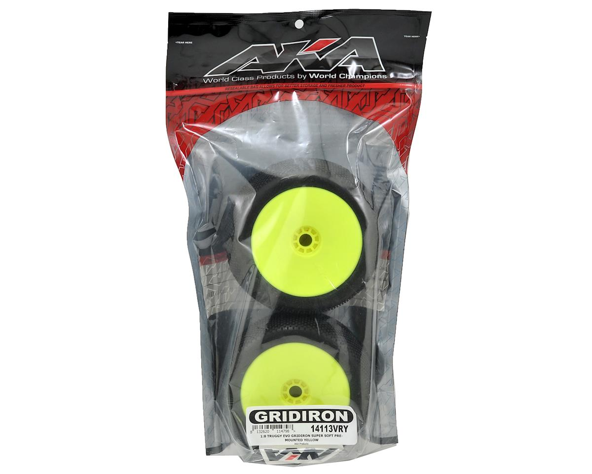 AKA EVO Gridiron 1/8 Truggy Pre-Mounted Tires (2) (Yellow) (Super Soft)