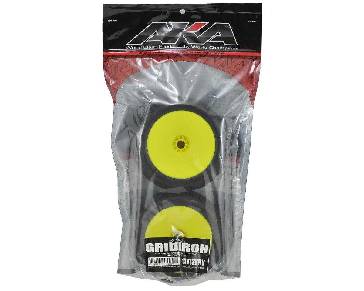 AKA EVO Gridiron 1/8 Truggy Pre-Mounted Tires (2) (Yellow) (Soft - Long Wear)