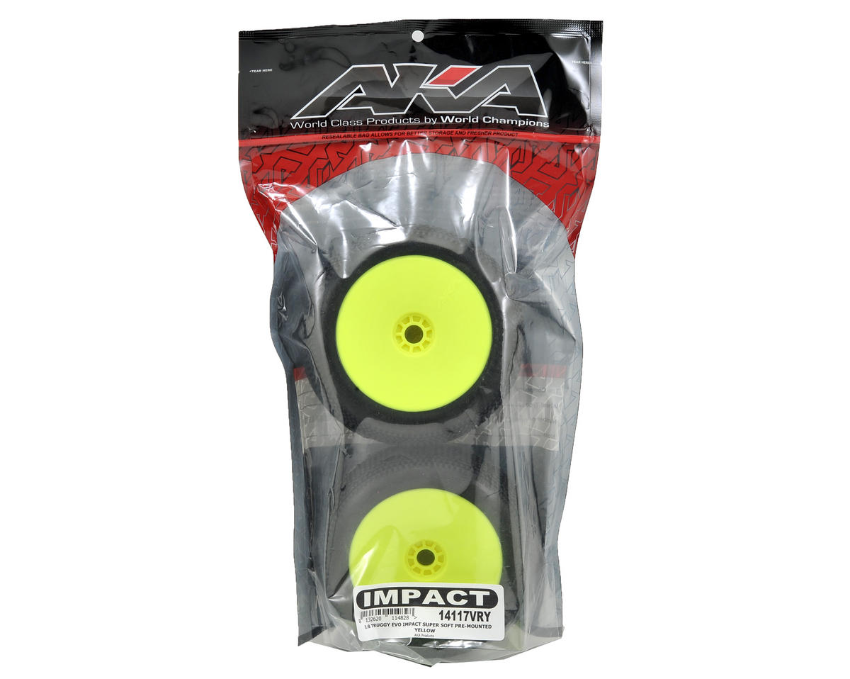 AKA EVO Impact 1/8 Truggy Pre-Mounted Tires (2) (Yellow) (Super Soft)