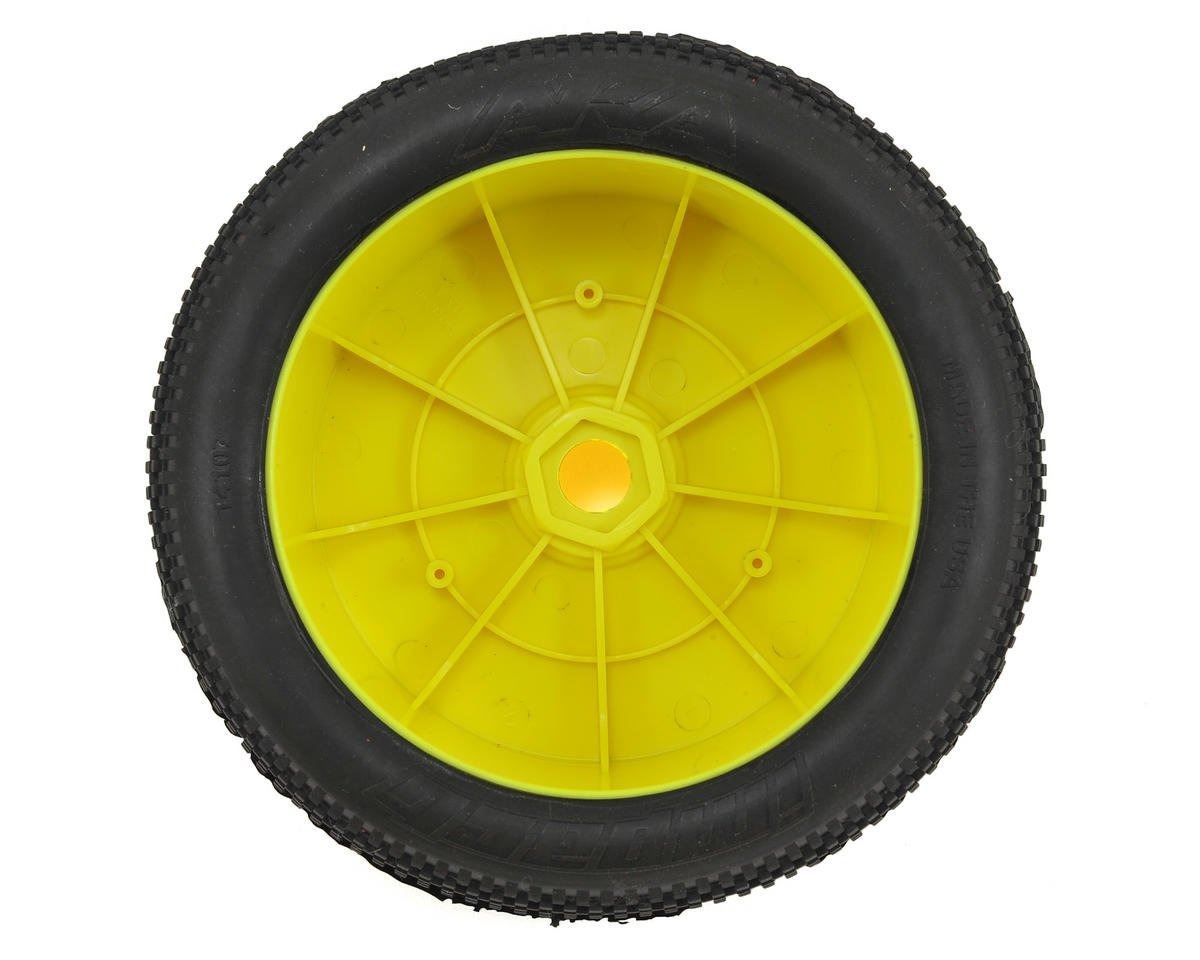 AKA EVO Impact 1/8 Truggy Pre-Mounted Tires (2) (Yellow) (Medium - Long Wear)