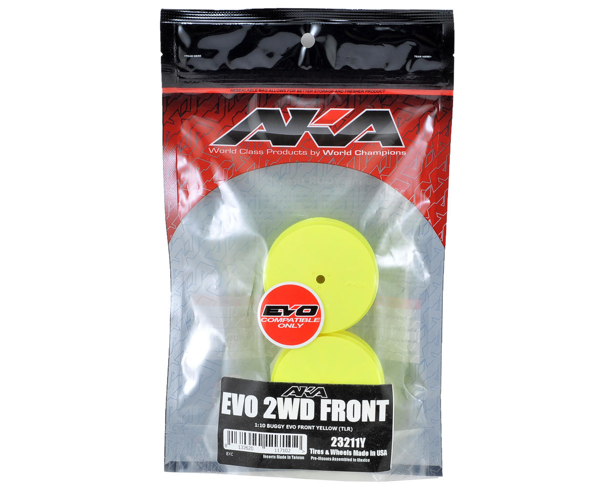 "AKA 10mm Hex ""EVO"" Front Wheels (2) (TLR 22) (Yellow)"