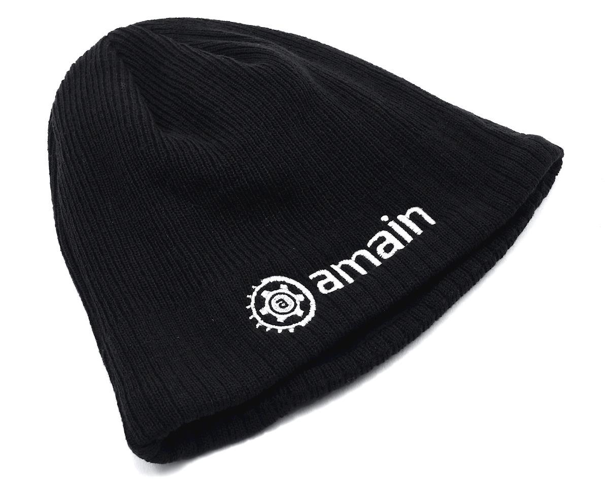 AMain Knit Cap Beanie w/White Gear Logo (Black)