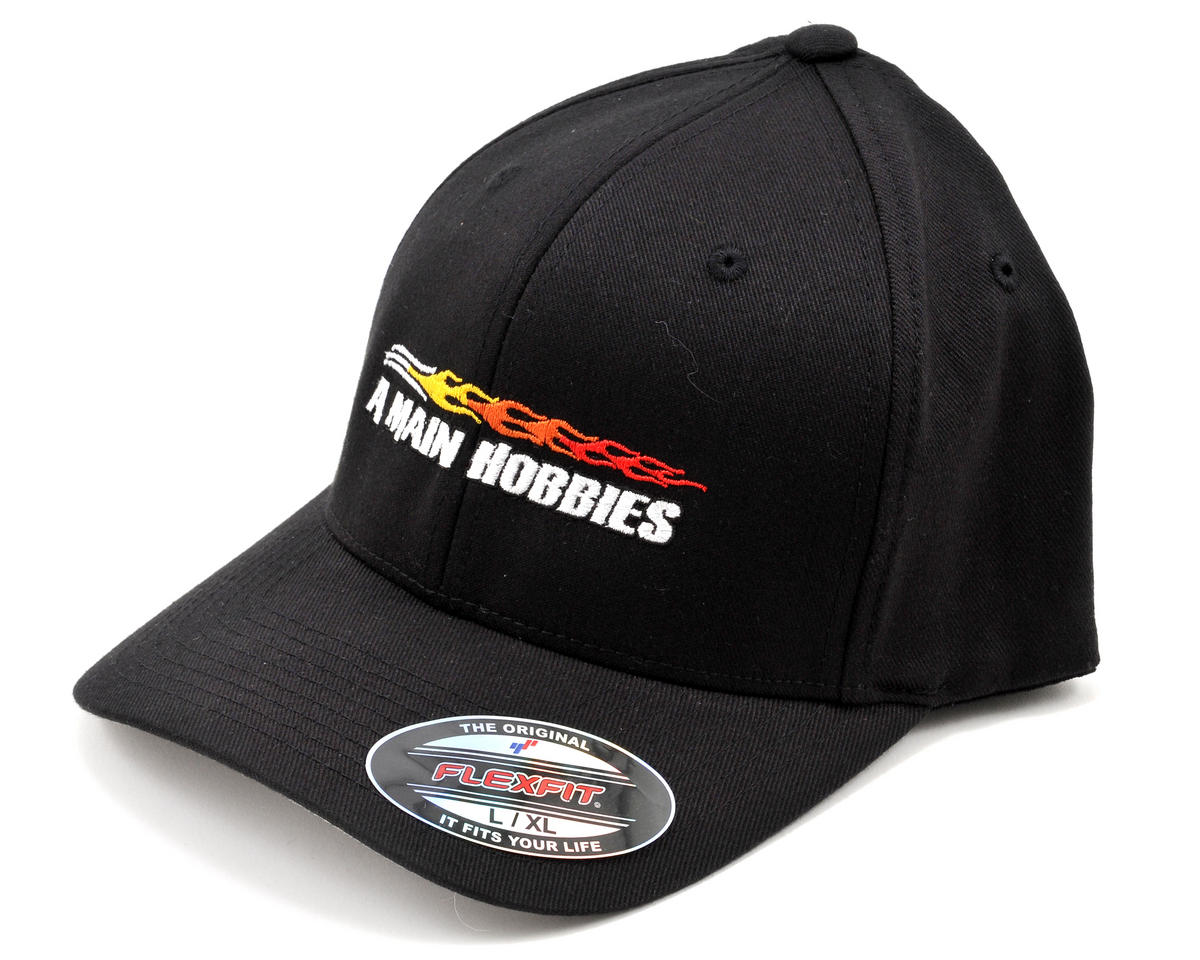 AMain FlexFit Hat w/Colored Flame Logo (Black) (L/XL)