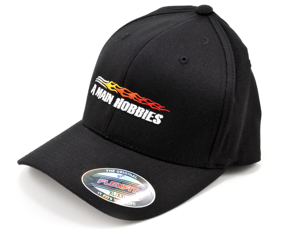 6e4ef4ab054e2 AMain FlexFit Hat w Colored Flame Logo (Black) (XL XXL)  AMN1007-XL XXL