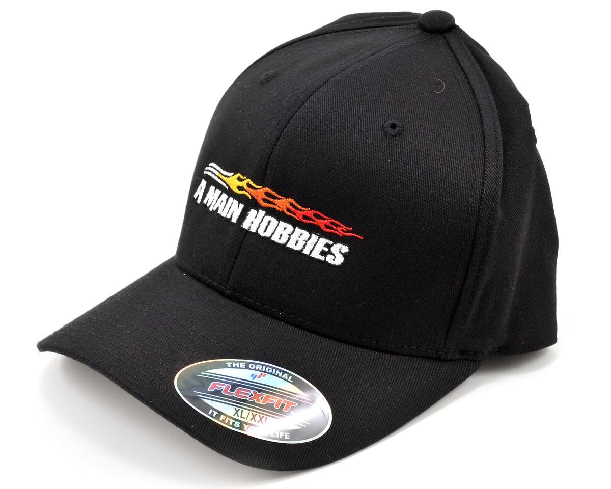 AMain FlexFit Hat w/Colored Flame Logo (Black) (XL/XXL