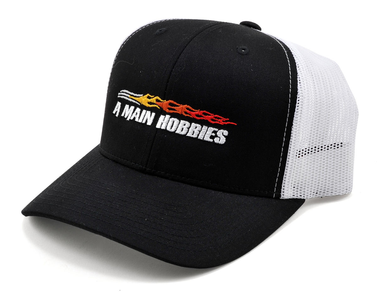 AMain Trucker Hat w/Colored Flame Logo (Black)