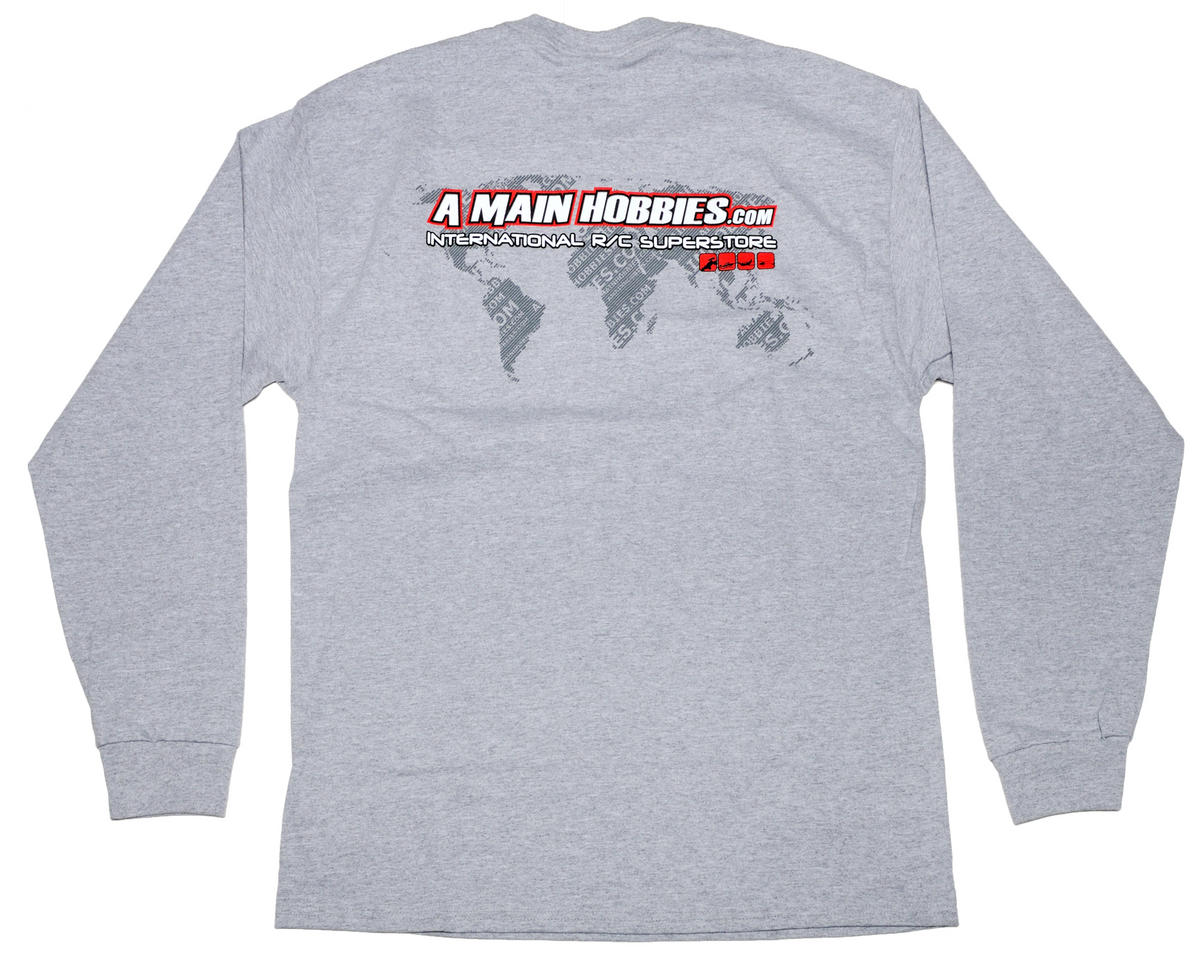 "AMain Gray ""International"" Long Sleeve T-Shirt (2X-Large)"